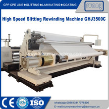 Nonwoven fabric slitting and rewinding machine